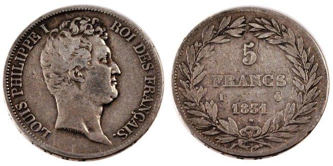 5 Francs 1831 I Frankreich Louis-Philippe VF(30-35)