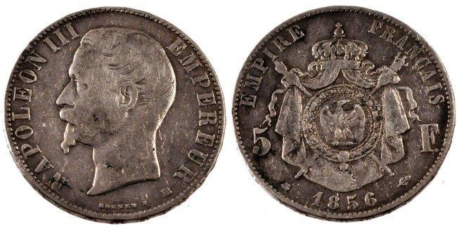 5 Francs 1856 BB Frankreich Napoléon III Napoleon III VF(20-25)