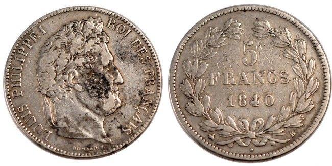 5 Francs 1840 B Frankreich Louis-Philippe VF(30-35)