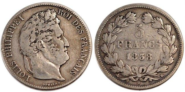 5 Francs 1838 B Frankreich Louis-Philippe VF(30-35)