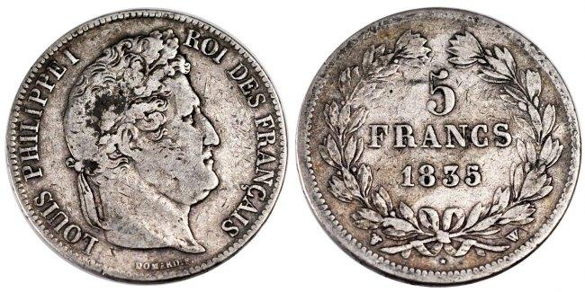5 Francs 1835 W Frankreich Louis-Philippe VF(30-35)