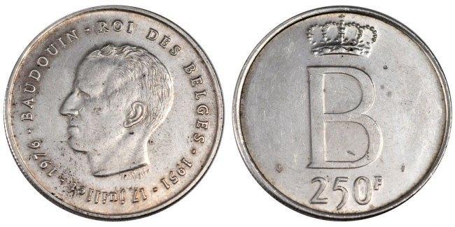 250 Francs, 250 Frank 1976 Belgien Silver Jubilee of King Baudouin EF(40-45)