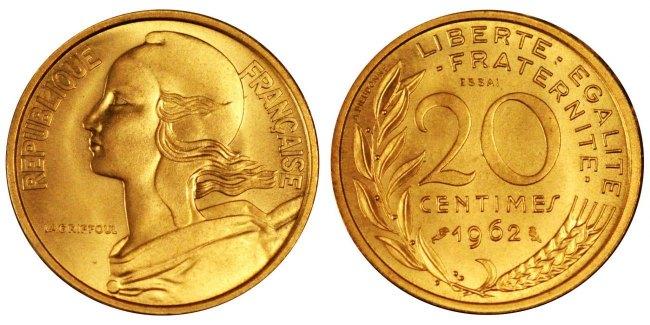 20 Centimes 1962 Frankreich MS(60-62)