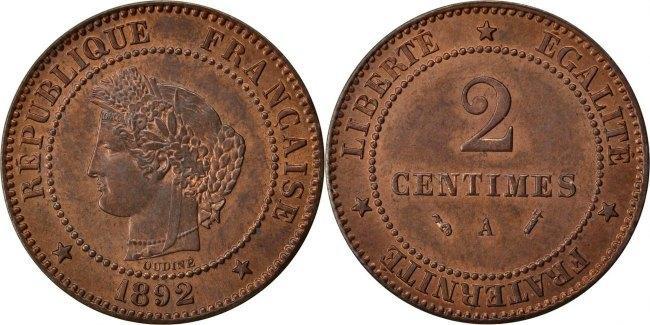 2 Centimes 1892 A Frankreich Cérès MS(60-62)