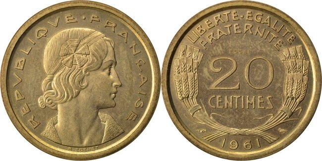 20 Centimes 1961 Frankreich MS(65-70)