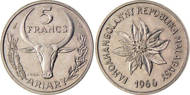 5 Francs 1966 (a) Madagascar MS(65-70)