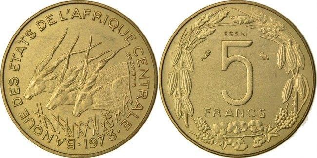 5 Francs 1973 Paris Zentralafrikanische Staaten MS(60-62)