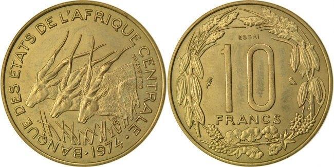 10 Francs 1974 Paris Zentralafrikanische Staaten MS(60-62)