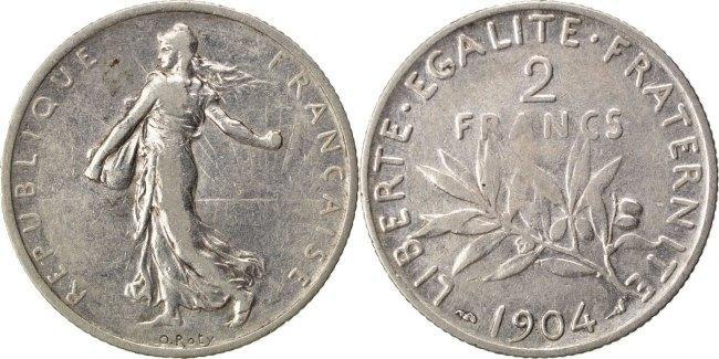 2 Francs 1904 Frankreich Semeuse EF(40-45)