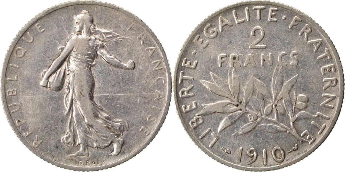 2 Francs 1910 Frankreich Semeuse EF(40-45)