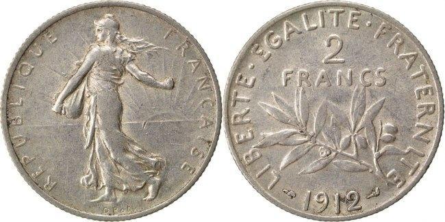 2 Francs 1912 Frankreich Semeuse AU(50-53)