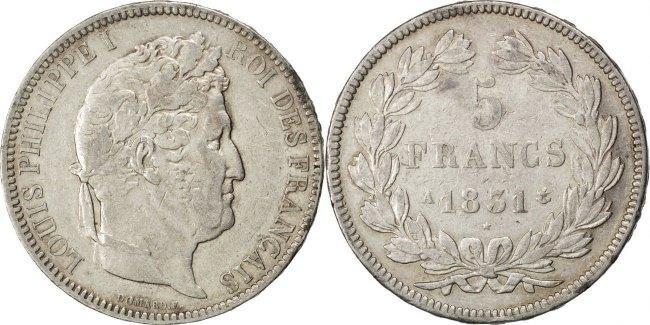 5 Francs 1831 A Frankreich Louis-Philippe EF(40-45)