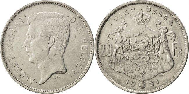 20 Francs, 20 Frank 1931 Belgien AU(50-53)