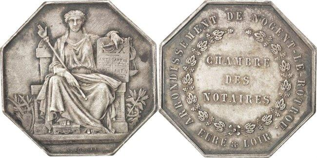 Token Frankreich France, Notary, Silver, Lerouge #229, 13.42 SS+