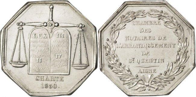 Token 1830 Frankreich France, Notary, Silver, Lerouge #372, 12.46 VZ