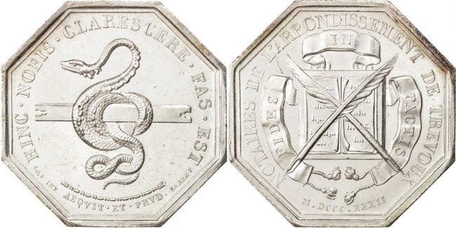 Token 1832 Frankreich France, Notary, Silver, Lerouge #409, 17.47 UNZ