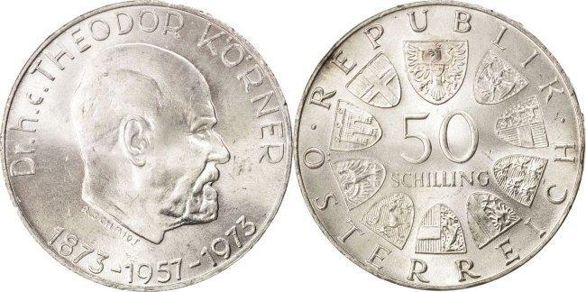 50 Schilling 1973 Österreich AUSTRIA, KM #2917, Silver, 34, 19.97 UNZ