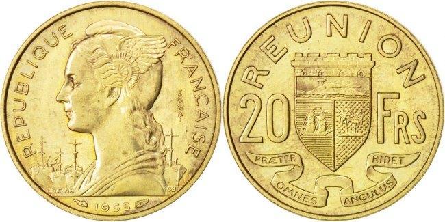 20 Francs 1955 (a) Réunion AU(55-58)