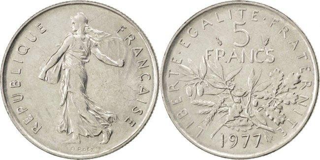 5 Francs 1977 Frankreich Semeuse MS(60-62)