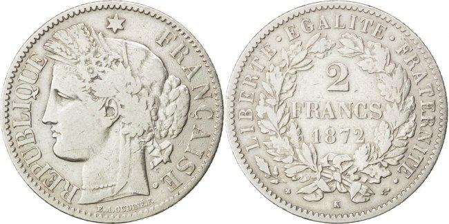 2 Francs 1872 A Frankreich Cérès VF(30-35)