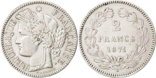 2 Francs 1871 K Frankreich Cérès AU(50-53)