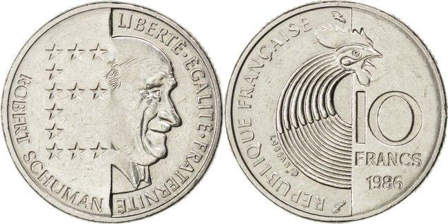 10 Francs 1986 Frankreich 100th Anniversary - Birth of Robert Schuman Schumann AU(55-58)