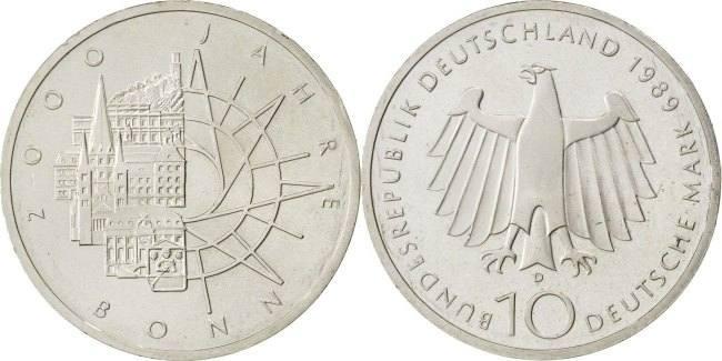 10 Mark 1989 D Bundesrepublik Deutschland 2000th Anniversary - City of Bonn MS(65-70)