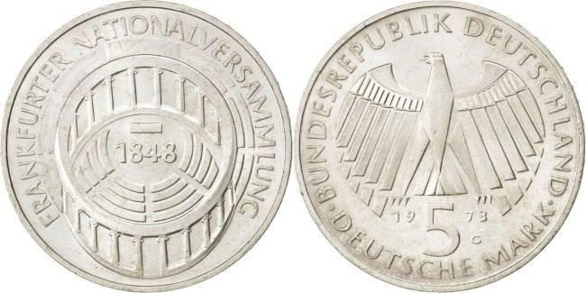 5 Mark 1973 G Bundesrepublik Deutschland 125th Anniversary - Frankfurt Parliament AU(55-58)