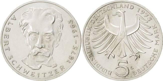 5 Mark 1975 G Bundesrepublik Deutschland Centenary - Birth of Albert Schweitzer MS(65-70)