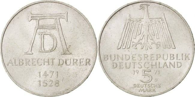 5 Mark 1971 D Bundesrepublik Deutschland 500th Anniversary - Birth of Albrecht D AU(55-58)