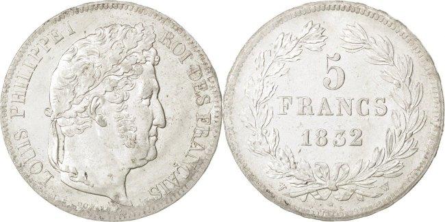 5 Francs 1832 W Frankreich Louis-Philippe MS(63)