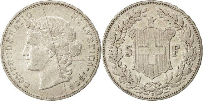 5 Francs 1889 B Schweiz EF(40-45)