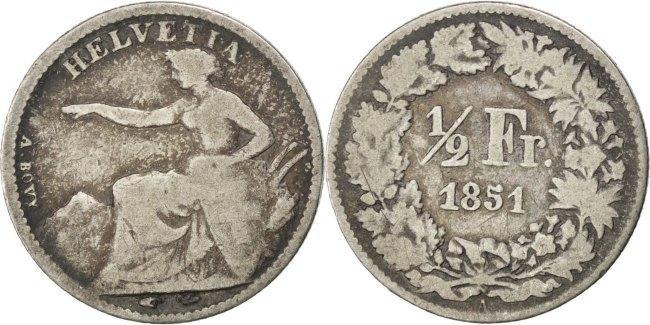 1/2 Franc 1851 A Schweiz VF(20-25)