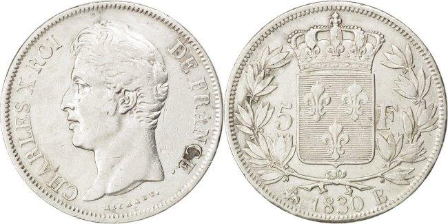5 Francs 1830 B Frankreich Charles X EF(40-45)