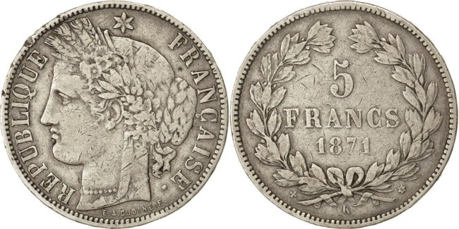 5 Francs 1871 K Frankreich Cérès VF(30-35)