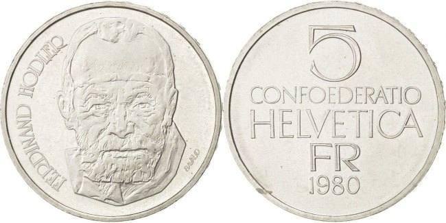 5 Francs 1980 Bern Schweiz Ferdinand Hodler - Painter AU(55-58)