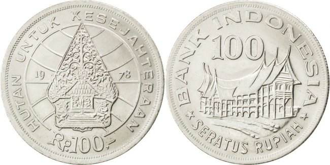 100 Rupiah 1978 Indonesien Forestry for prosperity MS(60-62)
