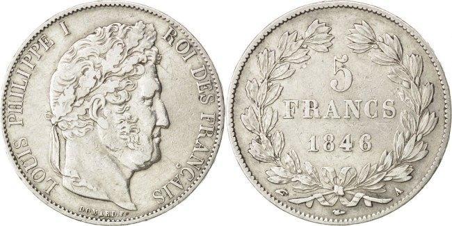 5 Francs 1846 A Frankreich Louis-Philippe EF(40-45)