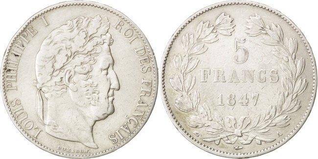 5 Francs 1847 A Frankreich Louis-Philippe EF(40-45)