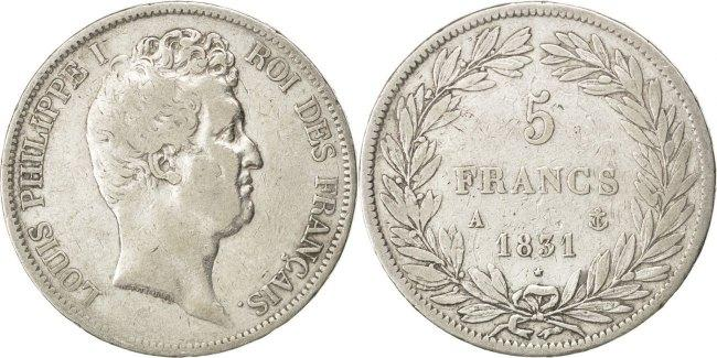 5 Francs 1831 A Frankreich Louis-Philippe VF(30-35)
