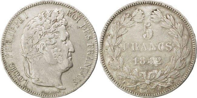 5 Francs 1842 W Frankreich Louis-Philippe EF(40-45)
