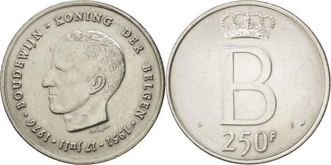 250 Francs, 250 Frank 1976 Belgien AU(55-58)