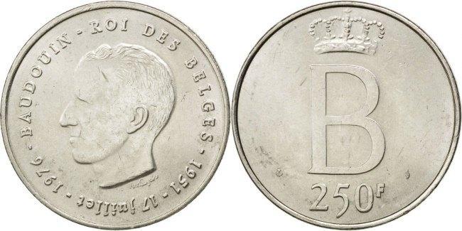250 Francs, 250 Frank 1976 Belgien Silver Jubilee of King Baudouin AU(55-58)