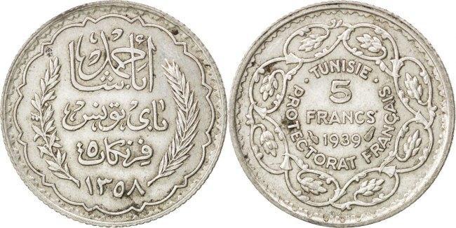 5 Francs 1939 (a) Tunesien Ahmad Pasha Bey AU(55-58)
