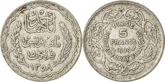 5 Francs 1939 (a) Tunesien Ahmad Pasha Bey AU(50-53)