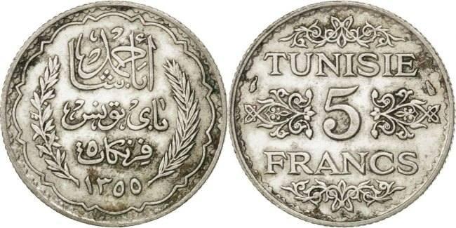 5 Francs 1934 Paris Tunesien Ahmad Pasha Bey AU(55-58)