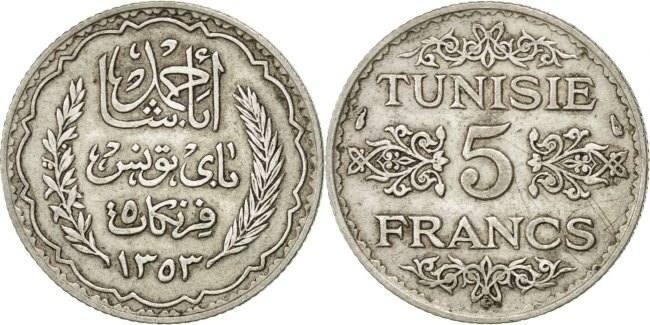 5 Francs 1936 Paris Tunesien Ahmad Pasha Bey AU(55-58)