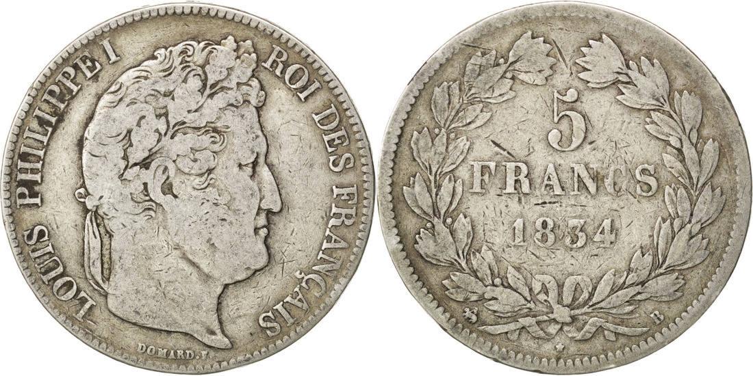 5 Francs 1834 B Frankreich Louis-Philippe VF(20-25)