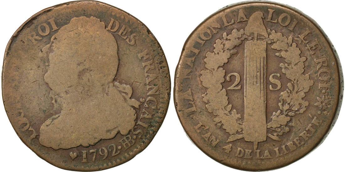 2 Sols 1792 BB Frankreich 2 sols français F(12-15)