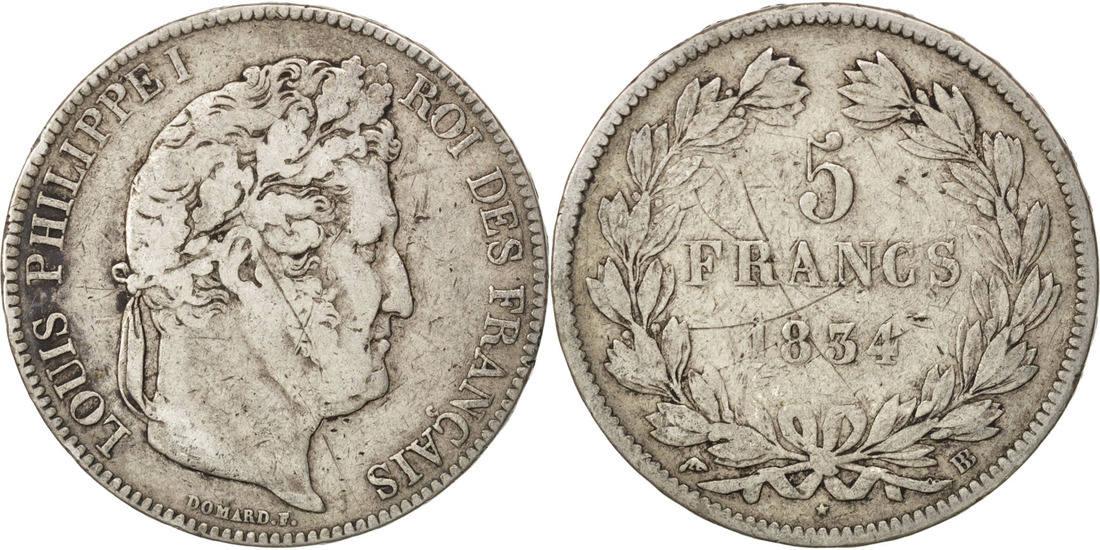 5 Francs 1834 BB Frankreich Louis-Philippe VF(20-25)
